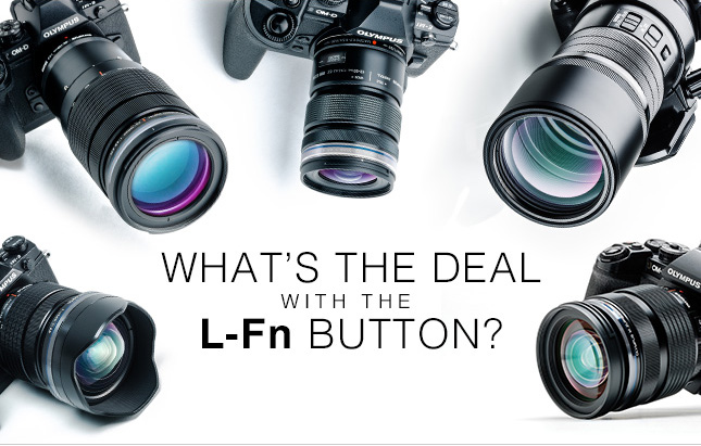 What does the L-Fn button do on a Olympus camera