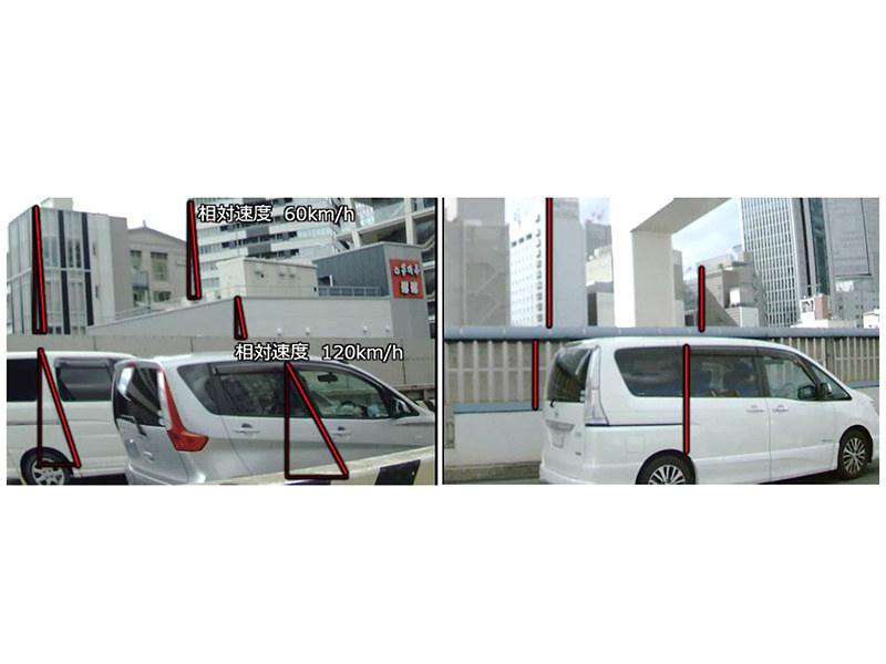 Comparison between rolling shutter mode and global shutter mode Highway traveling shooting