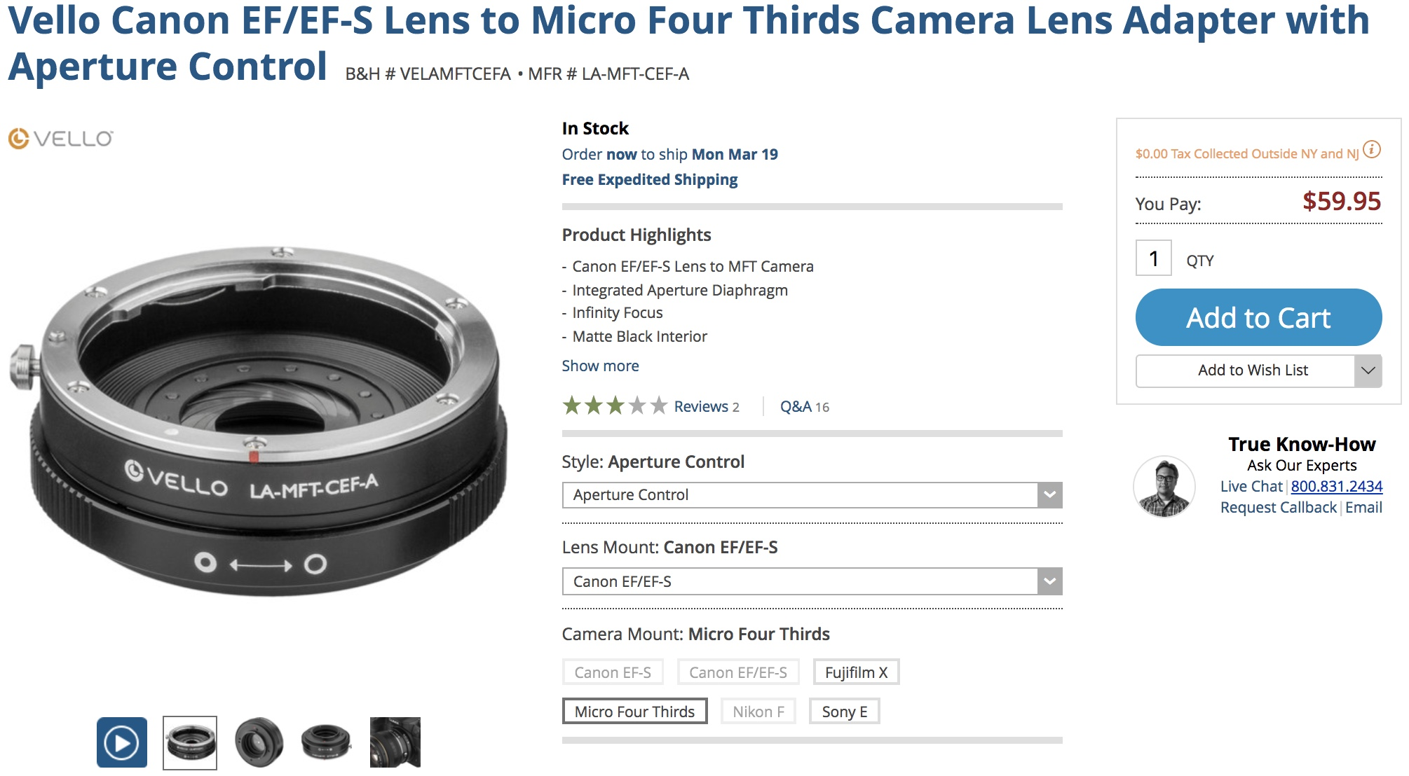 New Vello Canon EF/EF-S + Nikon F Lens Adapters Listed